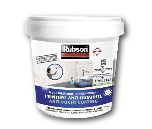Rubson Peinture Anti-Humidité, peinture acrylique anti-moisissures préventif ou curatif, peinture blanche & étanche idéale pour les murs intérieurs & enterrés, 0,75 L, blanc
