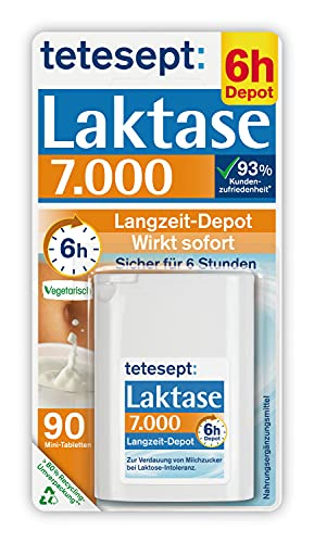 tetesept Laktase 7.000 – Laktasetabletten bei Laktoseunverträglichkeit – Nahrungsergänzungsmittel mit Sofortwirkung & 6h Langzeit-Depot – 1 Dose à 90 Stück
