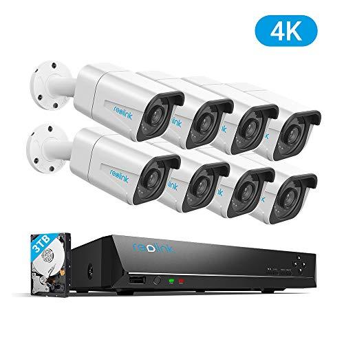 Reolink 4K Ultra HD 16-CH PoE Überwachungskamera Set, 8MP Video Überwachungssystem mit 8X 8MP IP Kameras, 16-CH NVR Rekorder mit 3TB HDD für Außen, Innen, Haus Sicherheit, RLK16-800B8
