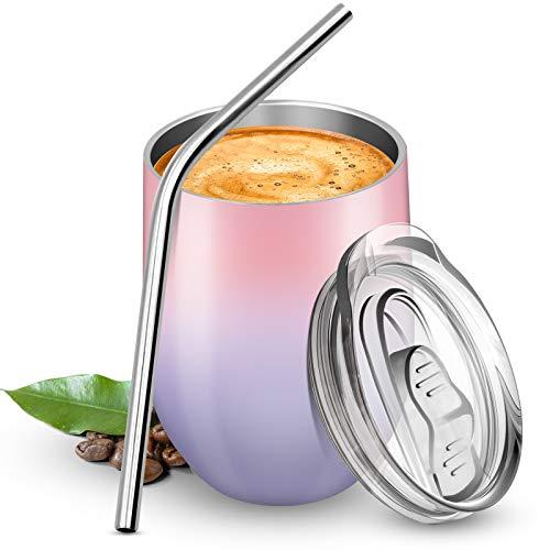 BICASLOVE Termo Taza Cafe 12oz/354ml,Botella de Agua Acero Inoxidable,Reutilizable,Botella Térmica sin BPA,con Paja y Cepillo,para Hogar,Vino,Café(Rosado&Morado)