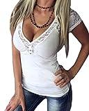 Yoins - Blusa sin mangas para mujer, diseño de encaje, estilo informal y sexi Blanco blanco XXL