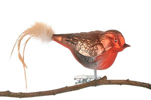 Thüringer Weihnacht 52-084 - Uccello in vetro, pettirosso con piuma naturale