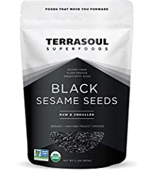Terrasoul Superfoods Organic Black Sesame Seeds, 2 Pounds Certified Organic, Earth Kosher, Non-GMO, Raw, Gluten-Free, Vegan. Having a rich nutty flavor, sesame seeds are rich in omega 6 fatty acids, calcium, antioxidants and protein. Terrasoul Superf...
