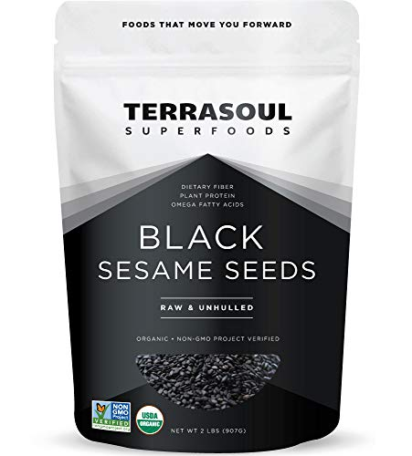 Terrasoul Superfoods Organic Black Sesame Seeds, 2 Lbs - Raw | Unhulled | Lab-Tested