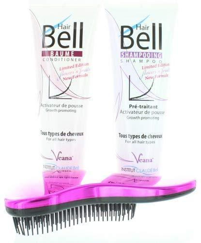 HairBell Shampoo + Conditioner flowers and fruits + DeTangler hot pink metallic Haarwachstum beschleunigen, Hair shampoo für haarwachstum, Anti Haarausfall für dünnes Haar, gegen Haarausfall