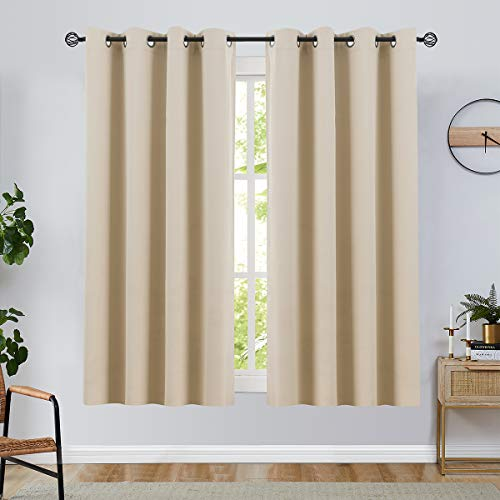 Room Darkening Curtain 63 inches Long for Living Room Moderate Blackout Window Curtain Panel for Bedroom Triple Weave Drape Grommet Top,52' W x 63' L,1 Panel, Beige