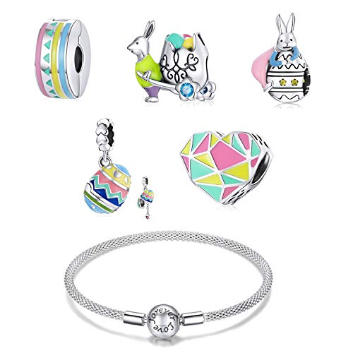 ZiFouDou Mesh Bracelet for Pandora Bead Charms with 925 Sterling Silver Bead Charm- Wonderful Easter