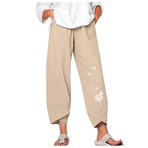 Pantalones de verano para mujer, con aspecto de lino, largos, con estampado de diente de león, con bolsillos, cómodos, para hacer yoga, para la playa, Beige 1, M