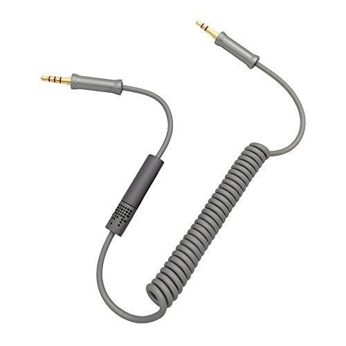 3,5mm Aux kabel auto handy Spiral-Audiokabel 360-Grad-Mikrofon zum Freisprechen männlich zu männlich Automobil Geeignet für Geräte mit 3,5mm-AUX-Schnittstelle Heim/KFZ Stereoanlagen und mehr(Grau)
