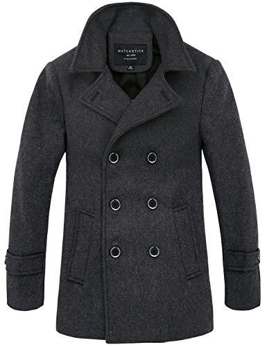 """Match Mens Wool Blend Classic Pea Coat Winter Coats (G1113 Dark Gray, US S/CN XL (Fit 36""""-38""""))"""