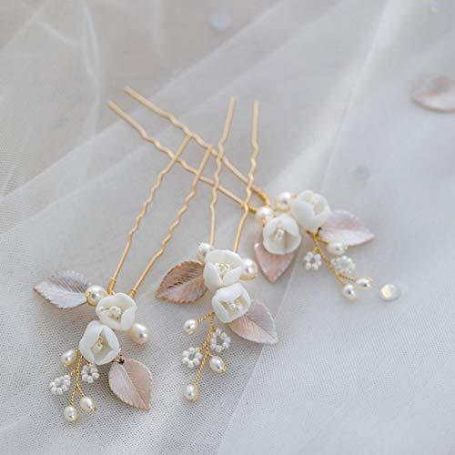 3 uds accesorios de boda cuentas de perlas peinetas de porcelana alfileres...