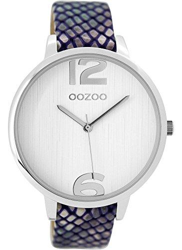Oozoo Damenuhr mit Lederband 42 MM Weiss/Snake C9532