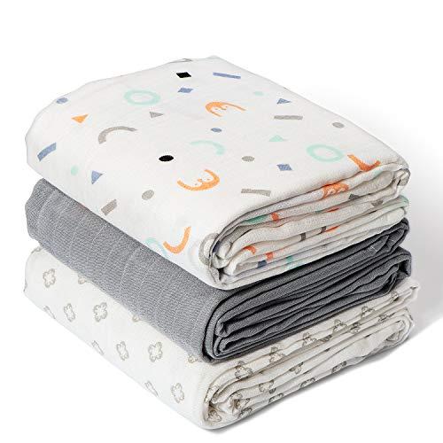 Momcozy Paquete de 3 Cobertores para Bebés con Patrón de Pingüino, 120 * 120 cm, 70% de Bambú, 30% de Algodón en las Mantas para Bebés, Manta Suave para Dormir para el Bebé
