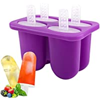 Housolution 4 Pieces BPA Free Ice Pop Molds Popsicle Molds Makers