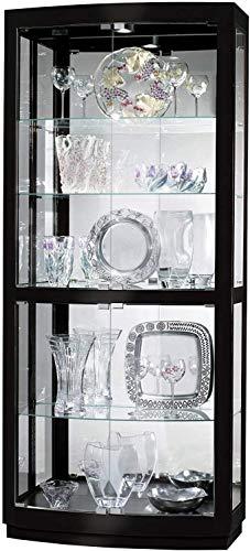 Howard Miller Bradington IV Curio Cabinet 680-678 – Gloss Black Finish Home Decor, Four Glass Shelves, Five Level Display Case with Halogen Light Switch