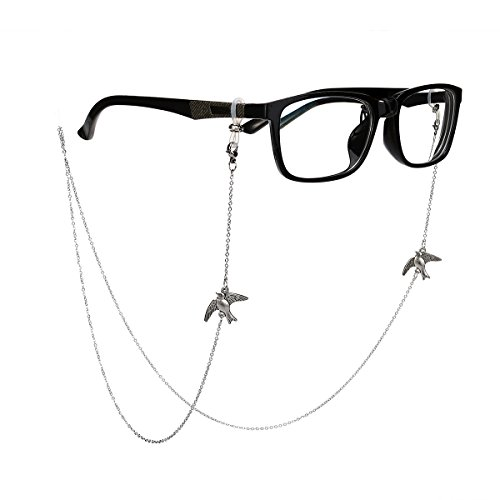 Tinksky Tinksky Bronze Gläser Kette mit Vogel Brille Schnur Strap Sunglass Holder Lanyard Brillen Halter Sonnenbrille Hals Cord Strap (Silber)