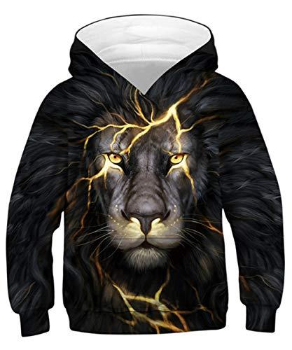 ALISISTER Jungen Mädchen Hoodie Kinder 3D Coole Löwe Design Kapuzenpullover Pullover Sweatshirt Mit Taschen Kind Langarm Pulli Tops L