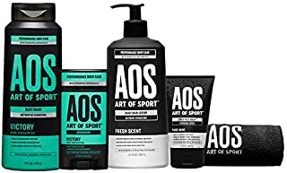 Bestsellers Kit, 5pc Men's Daily Essential Body Care Gift Set with Aluminium-Free Deodorant, Charcoal Body Wash, Body Loti...