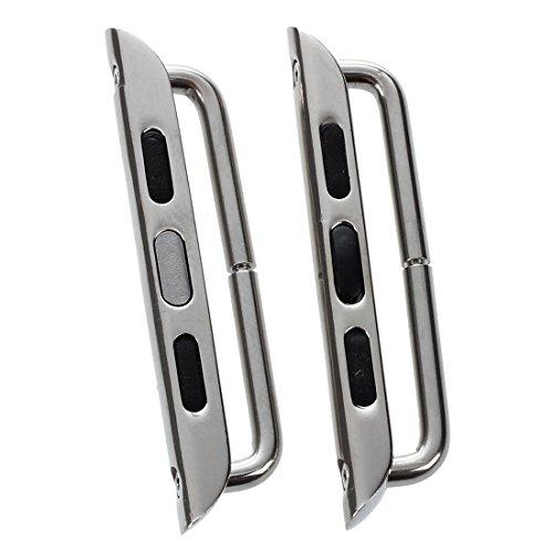SODIAL(R) Per Apple iWatch 42mm Cinturino per orologio / Adattatore / Connettore strap con chiusura di Acciaio inox 42mm Basic / Sport, argento con Cacciavite