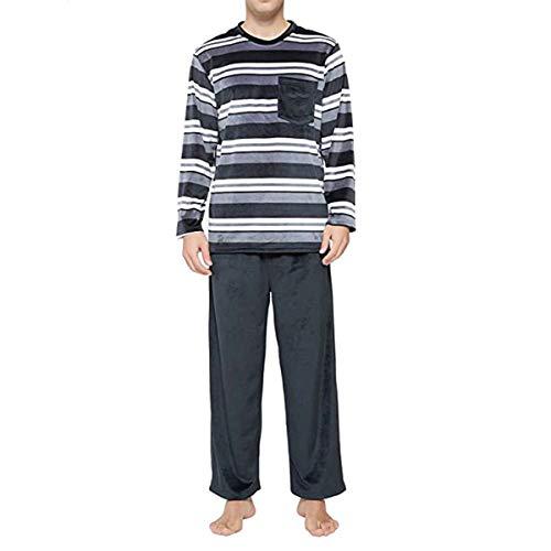 N /C Conjunto de pijama a rayas para parejas, cuello redondo, manga larga con bolsillo y pantalones elásticos, 2 piezas para dormir