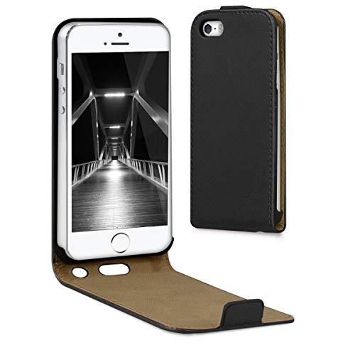 kwmobile Cover Compatibile con Apple iPhone SE (1.Gen 2016) / 5 / 5S - Custodia Verticale Flip Case in Simil Pelle - con Linguetta calamita