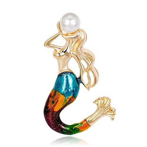 ZPEE Broche de Mujer Colorido enambló Sirena Broches Pin Simulated Pearl Broche Joyería para Mujer Pin de la Ropa Accesorios de Prenda Broche de Tela para Mujer de Ropa