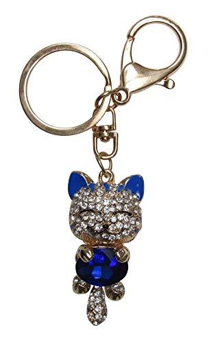 Générique Schlüsselanhänger, Taschenschmuck, Katzenschmuck, Stahl, goldfarben, Kristall, Blau und Weiß