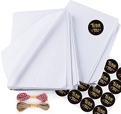 Sweelov Seidenpapier 50 Blatt 50 x 70cm weiß bastelpapier Papier Transparentpapier zum Pompoms Verpacken Tischdeko DIY,Kartengestaltung, Dekorieren