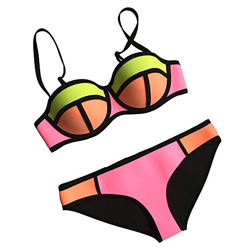 MUYBIEN Sexy Damen Neoprene Sport Bikini Set Push up Bunt Bademode Bandeau Diving Suit Tauchanzug
