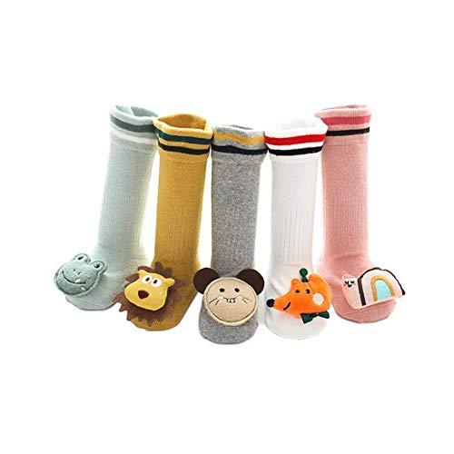 CHAYANG 5 pares de dibujos animados antideslizantes de bebé niñas hasta la rodilla calcetines de algodón ricos calcetines de los niños de largo calcetín