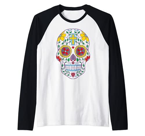 Azcar Crneo Cristiano Orgullo Mexicano Dia De Los Muertos Arte Camiseta Manga Raglan