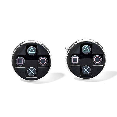 Videojuegos controlador diseño gemelos para hombres mujeres juegos botones Playstation vidrio gemelos alta calidad idea joyería