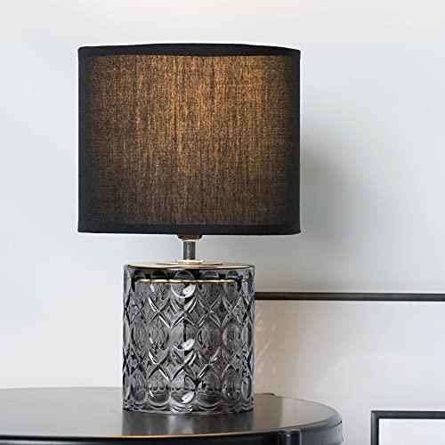 Pauleen Crystal Glow Tischleuchte max. 20W Tischlampe für E14 Lampen Nachttischlampe Grau Schwarz 230V Metall/Kunststoff ohne Leuchtmittel 48015, Stoff