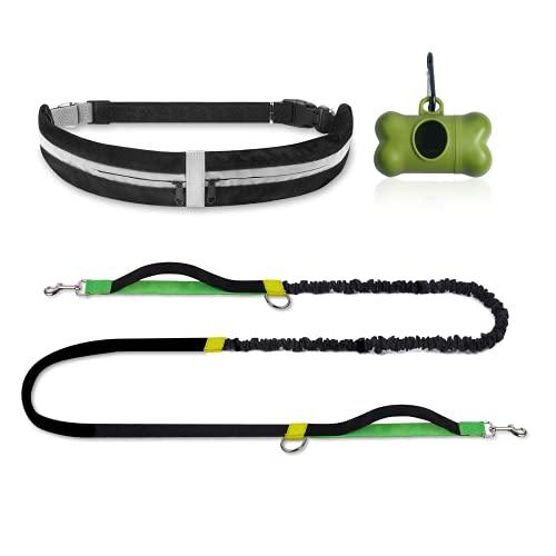 MIKKUPPA Hunde Joggingleine, handfreie und reflektierende Hundleine, mit einverstellbaren Bauchgurt doppel Griffe elastische Hundleine zum Rennen, Laufen und Wandern für mittelgroße bis große Hunde