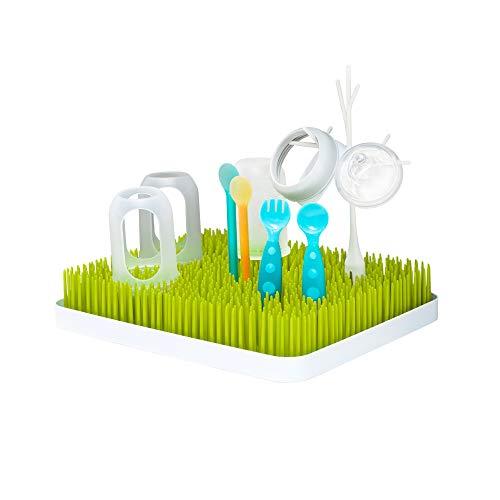 Boon LAWN großes Abtropfgestell mit praktischer Auffangschale für die Küche, Stylisches zweiteiliges Trockengestell in Grün, Baby Erstausstattung, Trockenständer für Babyflaschen, Baby Zubehör