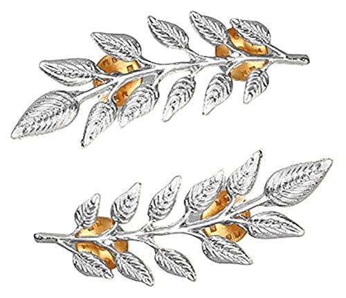 Lzpzz Broches y alfileres de hojas de plumas retro exquisitos unisex (color: plateado)
