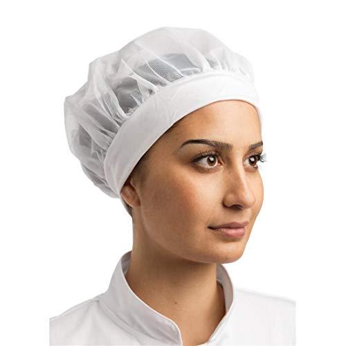 Cómodo sombrero para cocinero Whites Chefs Apparel B252, parte superior de malla, banda elástica para la cabeza, talla única