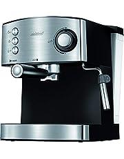 MPM MKW-06M Express Koffiezetapparaat, 20 Bar, voor Espresso en Cappuccino, Melkopschuimer, Kopjeswarmer, Afwerking van Roestvrij Staal, Afneembaar Waterreservoir 1,7 l, 850 W