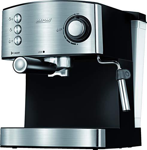 MPM MKW-06M Ciśnieniowy ekspres do kawy,Kawy Espresso, Cappuccino, Dysza do spieniania mleka, Podgrzewanie filiżanek, 20 BAR, Pojemnik na wodę 1,7 l, Czarno-srebrna obudowa ze stali nierdzewnej, 850W