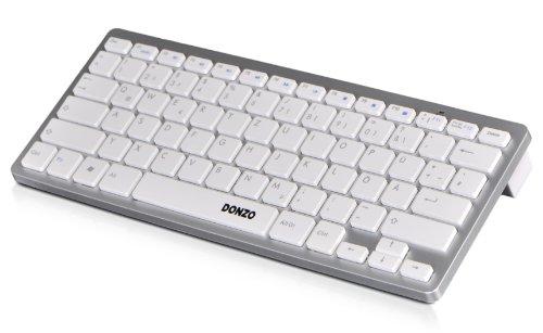 DONZO® BTK-01WIN-W UNIVERSAL BT Bluetooth Tastatur QWERTZ Layout (deutsche Tastatur/Tastenbelegung) geeignet für Smartphone | Smart TV | Laptop / PC | fast alle Geräte und Handys - weiß