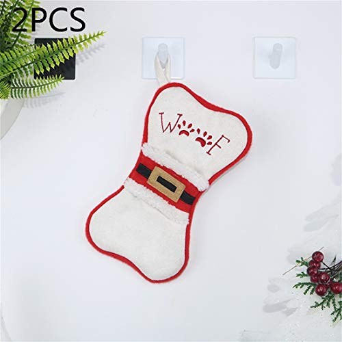 HMG 2 PCS CX20223 multifunción Forma de Hueso Bolsa calcetín Cuchillo Tenedor Decoración Colgante del árbol de Navidad de la Manga (Blanca) (Color : White)
