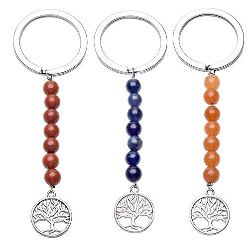 CrystalTears Juego de 3 llaveros de mujer con forma de árbol de la vida y 7 piedras naturales de aleación de plata para regalo de amigos Zaffiro+avventurina Giallo+agata Rossa