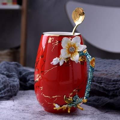 ERTERT Taza de Leche Tazas Tazas de Esmalte Creativo Taza de té de la Flor Taza de café con la Cuchara Cumpleaños Regalo de Boda Drink Webware (Color : A2 Red)