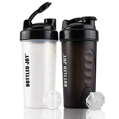 Botella batidora de proteínas, 24 onzas, sin BPA, a prueba de fugas, mezclador de nutrición, 2 unidades