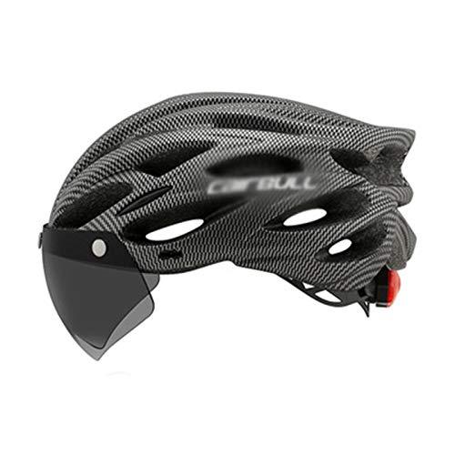 ASDFY Casco de Bicicleta Gafas Desmontables Visera Casco de Bicicleta de Carretera de montaña Protección de Seguridad Ajustable para Adultos y Casco Transpirable