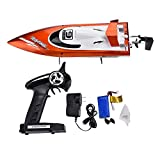 YLEI RC Boot, Ferngesteuertes Elektrisches Rennboot, 2,4 GHz 30 km/h 4 Kanal High Speed Boot, für Jungen & Mädchen, Komplett-Set inkl. Fernsteuerung, Akku und Ladegerät