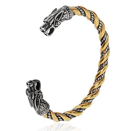 Vintage Vikingo Doble Cabeza de Lobo Pulsera, Hombres Acero Inoxidable Abierto Ajustable Cable Trenzado Brazalete Pulsera Amuleto Joyería Vintage,Oro