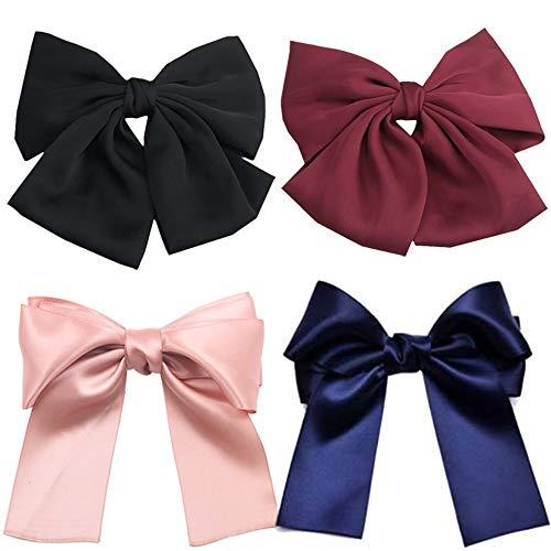 Lot de 4 grands nœuds pour cheveux Boutique Filles Ruban Barrettes Bowknot Mousseline de soie Nœud Pince à cheveux pour adultes Ados Femmes Accessoires de cheveux