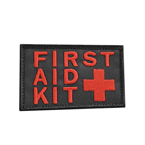 2AFTER1 First Aid Kit 2x3.25 Red/Black IFAK Medic MED Trauma Paramedic Morale Hook-and-Loop Patch
