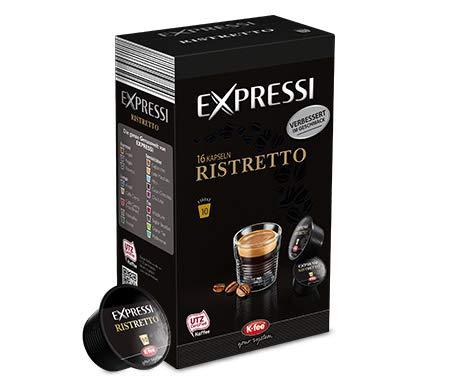 K-Fee Lounge Expressi Espresso Ristretto Cápsulas 96 Cápsulas compatibles con tetera Lounge, cafetera y cafetera de té